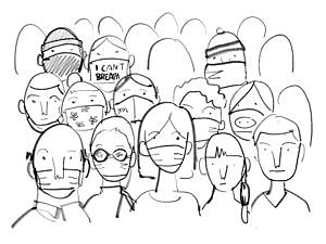 Sketch of masked people